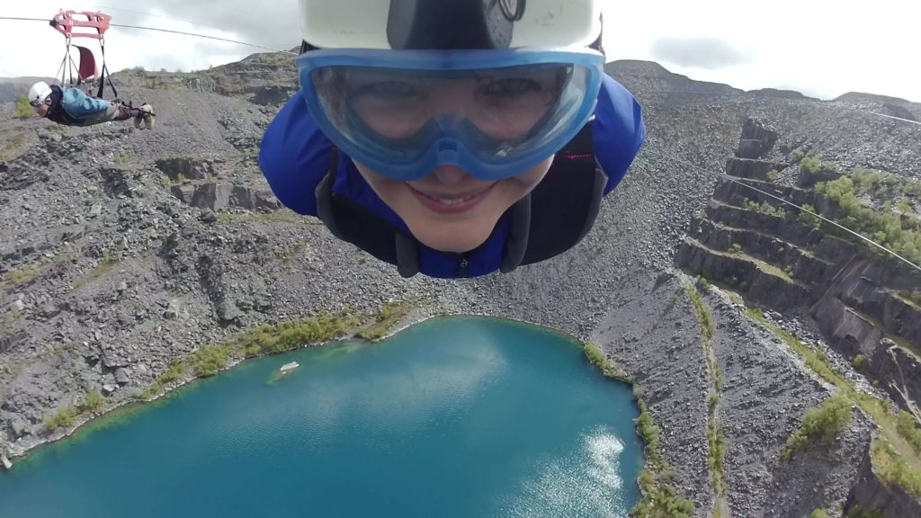snowden zip wire in motion, quench your thirst for speed
